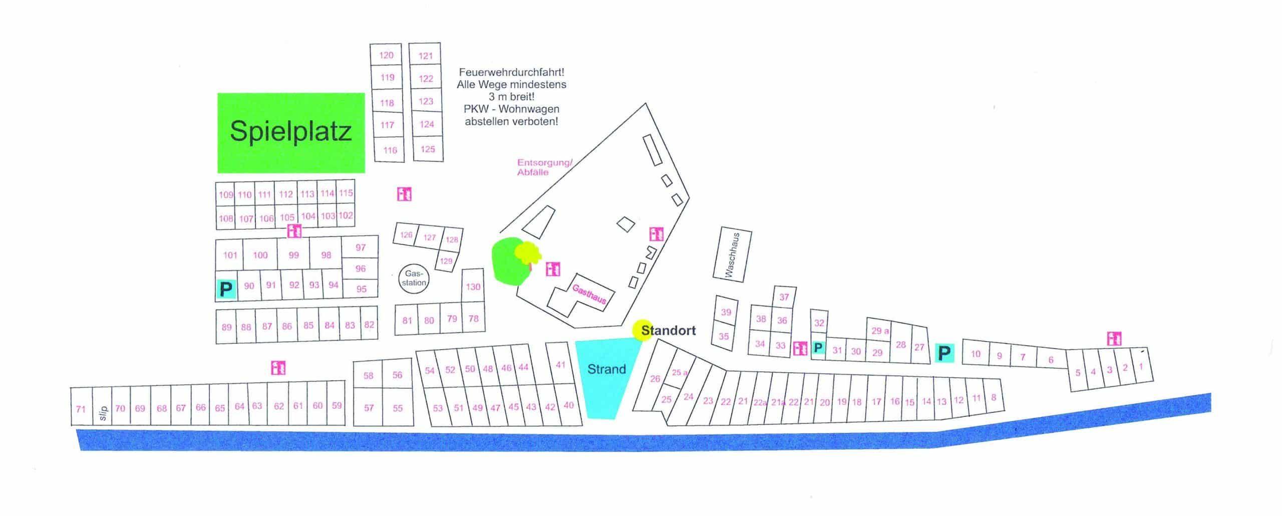 Lageplan Campingplatz Weser-Camping-Bollen